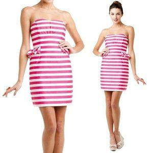 Lilly Pulitzer Pink White Peplum Strapless Dress 2